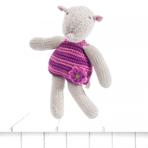 knitted mouse rattle pink
