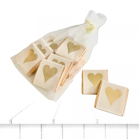 gold heart chocolate square